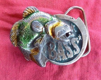 Vintage 1981 Great American Buckle Company Bass belt buckle USA
