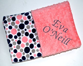 SALE Monogrammed Minky Baby Blanket -   Navy Blue, Gray and Coral Peach Polka Dot and Grey / Gray Personalized blanket with name Newborn