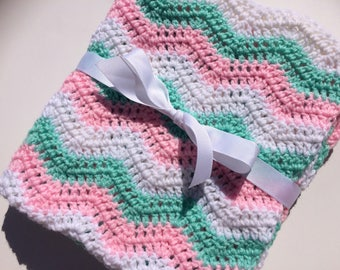 Crochet baby blanket light pink mint green white ripple chevron blanket photo prop ready to ship