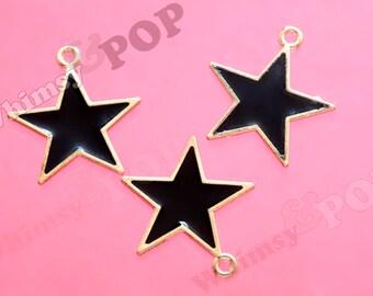 Gold Tone Black Enamel Star Charms, Star Charms, Black Star Charm, 20.5mm x 19.5mm (R8-200)