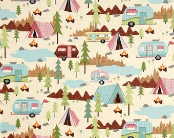 """NEW Trailer print on cream Camping Valance or Panel Cotton Campers Trailers  Print 12"""" 14"""" 18"""" 24' 32"""" Lined or Unlined"""