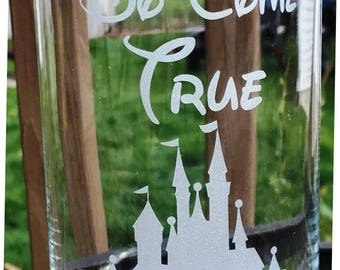 Engraved Wedding centerpiece Dreams Do Come True with Castle Etched Glass Vase Candle holder Princess Disney Themed Wedding