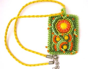 Summer necklace, Bead embroidered necklace, Pendant necklace, Beaded jewelry, Green orange yellow, Gift for women