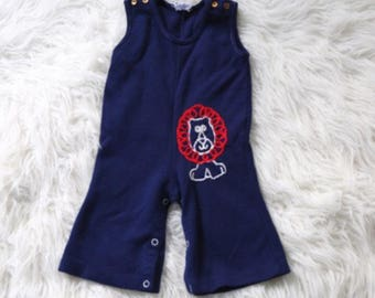 Vintage One Piece Sleeveless Lion Outfit Baby Goys Navy Blue Wide Ankle Pants