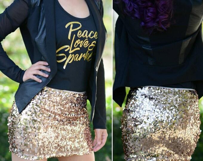 Free Shipping! Shiny Rose Gold Peach Mini Sequin Skirt - Stretchy, beautiful, fun mini skirt (S, M, L, XL) Ships asap!