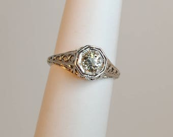 18kt Gold Belais  .51 carat Diamond Engagement Ring