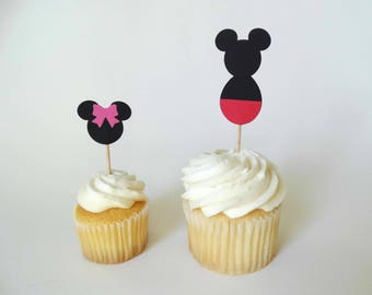 Mouse Cupcake Toppers, birthday party decor, mouse theme party, kids birthday party, baby shower toppers