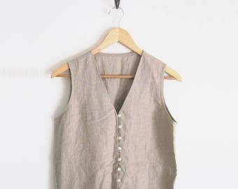 Vintage 90s Linen Shirt. Sleeveless V-Neck Shirt. Loop Button Down Top. Oatmeal Khaki Top. Minimalist Classic Shirt.