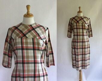 ON SALE 60's Plaid Sheath Dress