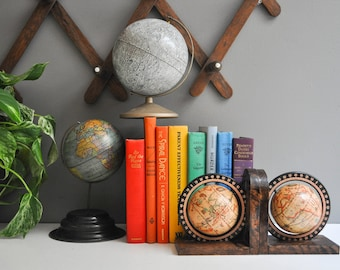 Vintage Globe Bookends - Wood Globe Bookends