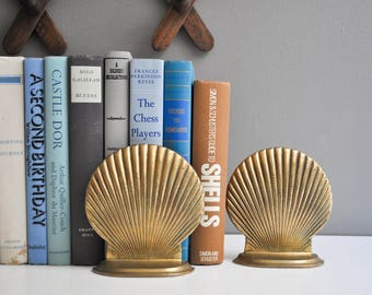 Vintage Solid Brass Shell Bookends