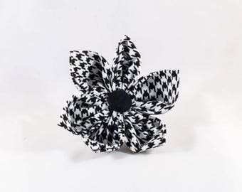 Classic Black and White Houndstooth Girl Dog Flower Bow Tie