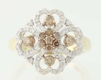 Diamond Ring - 10k Yellow Gold Quatrefoil Clover Hearts Round Cut .75ctw N9816