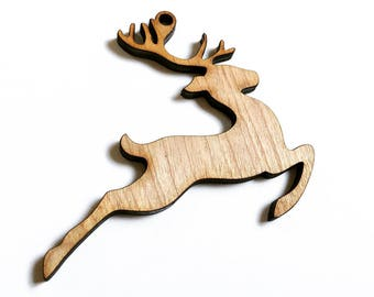 Wood Reindeer Christmas Ornament - Paintable DIY Craft Project - Birch Wood Ornament