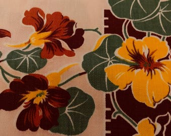 Vintage card table sz tablecloth huge gorgeous Pansies on pale pink background