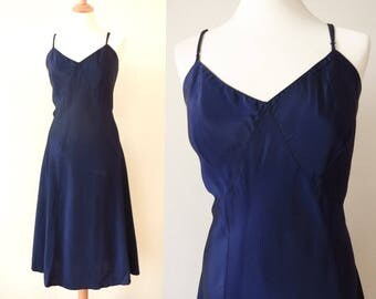 1930s 1940s vintage Size L shiny blue rayon SLIP DRESS  with adjustable straps and flared stitched hem 30s 40s