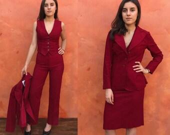 Vintage 1970s Women's 3 piece suit. 70s red corduroy pantsuit. Pants Blazer Vest Jacket coat Skirt. Hippie boho gypsy xs. 4 piece suit