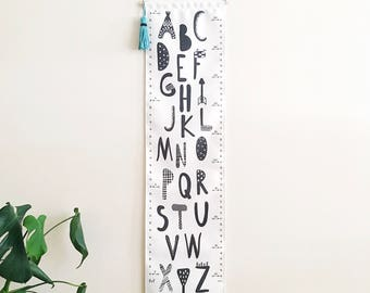 NEW! Removable canvas growth chart - Kids height chart - Canvas wall hanging - Alphabet - Mountains - Adventure - ABC - Black white