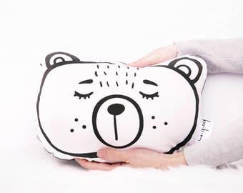 Softie Cushion - Plush Bear - Black + White - Kids throw pillow - Sleepy eyes - Sleepy bear - Kids rooms - Nursery decor Kids bedroom decor