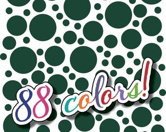 Wall Safe Vinyl Polka Dots 100 Pack and More Circles Removable Dark Green Nursery Crib Kids Kid Childs Bedroom Room