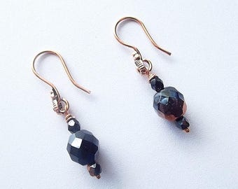 40% OFF SALE thru Tues Copper Crystal Earrings, Christmas Gift, Mom Sister Jewelry, Black Earrings, Drop Earrings