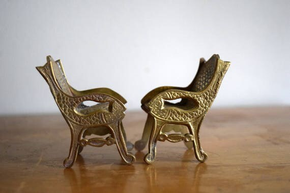 Two Vintage Brass Dollhouse Chairs - Miniatures, Mid Centruy, Zen,