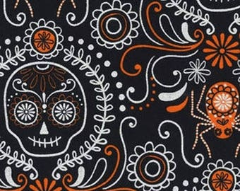 ON SALE 50% OFF Sugar Skull Fabric - Spider Fabric - Black Fabric - Halloween Fabric - Day of the Dead - Boy Fabric - Cotton Fabric - 1 yard