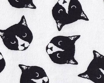 On SALE 25% OFF Cat Fabric - Harajuku - Black and White - Flannel Fabric - Meow - Cotton Fabric - Minimalist - Novelty Fabric - Nursery Fabr