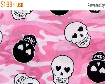 ON SALE 85% OFF Skull Fabric - Skull and Crossbones - Pink Fabric - Punk Rock - Skulls - Girl Fabric - Cotton Fabric - Camouflage - Punk Bab