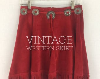 Vintage red fringed suede western mini skirt 80s Phoenix USA Frontier Collection southwest cowgirl rodeo country skirt _ medium