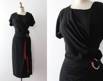 vintage 1940s dress // 40s black evening dress with pop of red