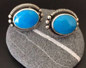 Native American Sterling Silver and Turquoise Oval Pierced Stud Earrings