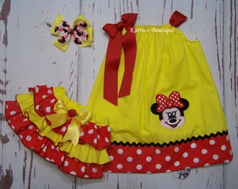 Minnie Mouse Outfit / Pillowcase Dress + Ruffle Bloomer / Headband / Disney / Newborn / Infant / Baby / Girl / Toddler / Boutique Clothing