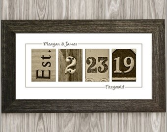 Personalized Wedding Gift for Couple, Custom Established Date Wedding Sign, Rustic Wedding Gift, Gift for Bride, Personalized Gifts