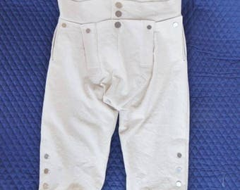 Off  White  Fall Front Trouser// Breeches// Reenactment// Colonial//Civil war// Pioneer