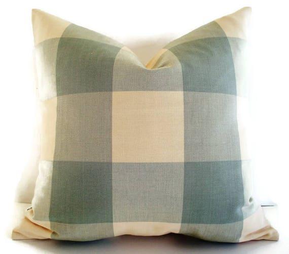 Ballard Designs Pillow Blue Check Oversized