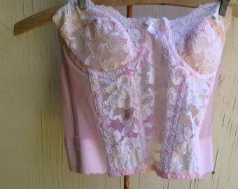 SALE  pink vintage lace victoria secret 34A west corset bustier summer cami top lover photo stylist decor boho love honeymoon bra  lingerie