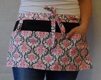 Wedding planner tool belt - Half Apron with pockets - vendor apron - utility apron - garden apron - candy pink black white damask fabric
