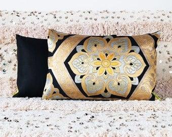 Metallic Gold Black Pillow, Geometric Floral Cushion, Upcycled Vintage Kimono Throw Pillow, Japanese Vintage Silk Obi, Luxury Accent Pillows