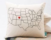 USA Map Throw Pillow Cover - Home Sweet Home Throw Pillow - Home State Pride