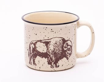 Bison Coffee Mug - Camp Fire Mug - Ceramic Mug - Buffalo - Screen Printed - Coffee Cup