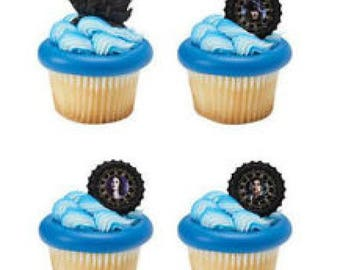 24 Shimmer Happy Birthday Cupcake Cake Rings Party Favors Toppers
