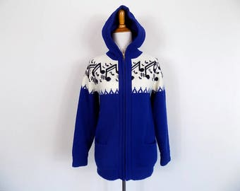 Novelty Music Note Sweater - Hand Knit Zip Front Cardigan - Vintage Small / Medium
