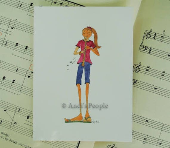 Oboe Girl Greeting Card, Whimsical Hand Painted Birthday Card, Musical Theme, Bday Card for a Music Lover or Musician, Happy Birthday Card