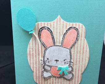 Bunny with Balloon Blank Note Card  -