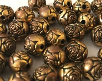 Antique Gold Rose Beads | Gold Rose Beads | 10 mm Rose Beads | Antique Gold Beads | 10 mm Antique Gold Beads | Jewelry Parts | Spacer Beads