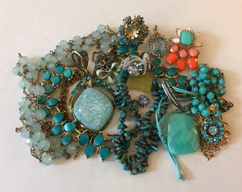 Blue Jewelry Lot | Turquoise Jewelry Lot | Retro Rhinestone | Blue Rhinestone Brooch | Blue Rhinestone Pendant | Rhinestone Crafts