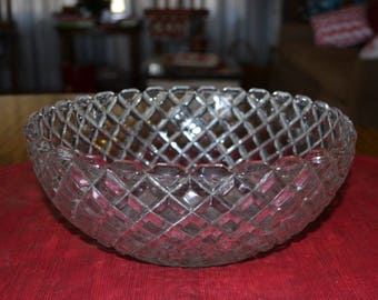 Hocking Waterford Waffle 8 1/2 Inch Lg. Berry Bowl,  C. 1938-1944