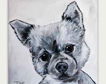 Custom Dog Paintings, Black and white Art, Acrylic On canvas, Wall Decor, Home Decor