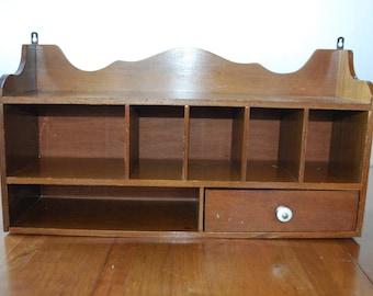 vintage wooden wall desk - wall shelf/ organizer - retro - 1970's - farmhouse - colonial